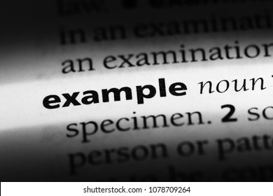 example word in a dictionary. example concept