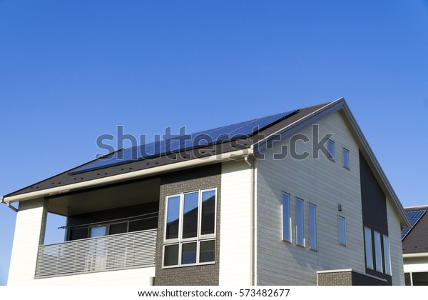 Examples Housing Construction Japanese Solar Panels Stock