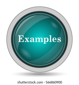 Examples icon, website button on white background.