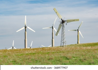 Examples of the obsolete wind turbines being replaced at the Altamont Wind Resource Area.  Modern replacement turbines should reduce the number of birds killed.