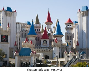 Excalibur  hotel and casino on the Las Vegas, Nevada strip in the winter