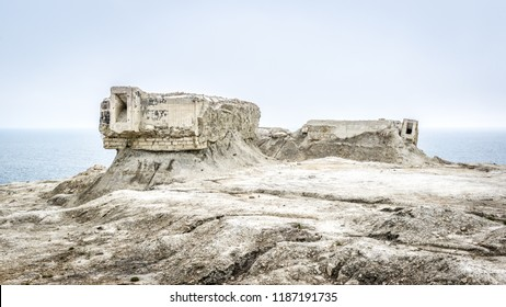 Excavated fortifications from Second World War, Feodosia, Crimea, Russia. Panoramic view of ruins on the deserted Crimea coast. Futuristic and post apocalyptic concept. Historical landmark of Crimea.