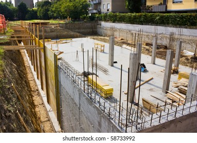 excavation and foundation for the construction of a building - masonry work