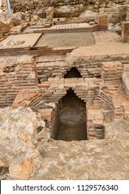 Excavation of old Arabic bath remains at Salobrena Castle, Granada, Spain.