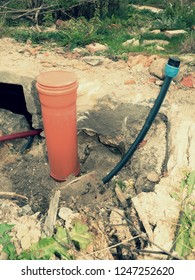 Excavation of trench with cables in protective HDPE tube. Lines of cables of communication optical network