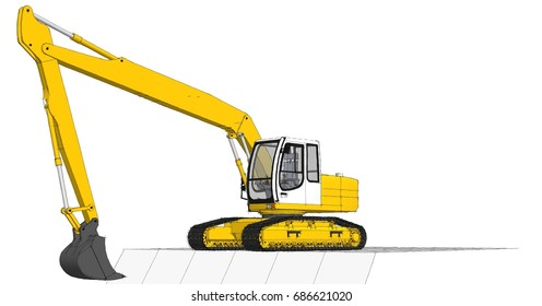 excavator, 3d illustration, sketch