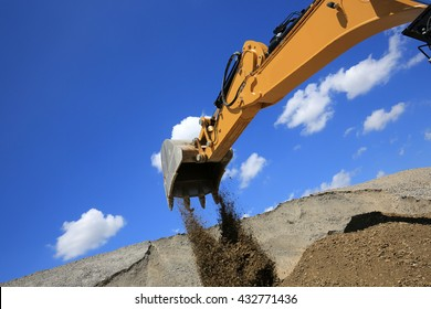 excavator in action in a mine site