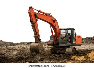 Excavator backhoe on the ground isolated on white background with clipping path
