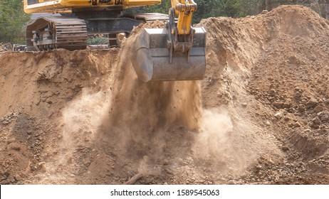 Excavator Bucket Scoop Dirt Fall