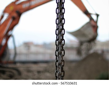 excavator construction chain excavation demolition site
