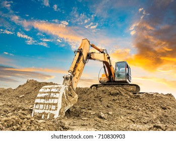 excavator in construction site