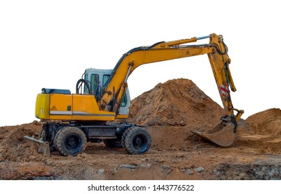 Excavator at the construction site isolated on white