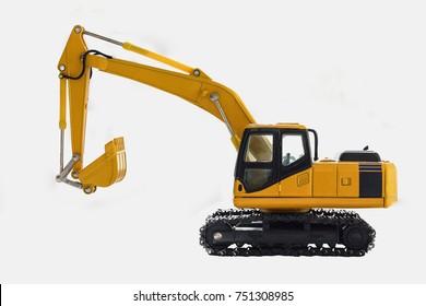 Excavator crawler loader model on white background