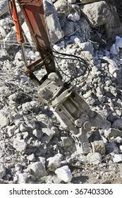 excavator demolition  in construction site