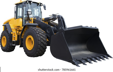 Excavator, digger, bagger on white background
