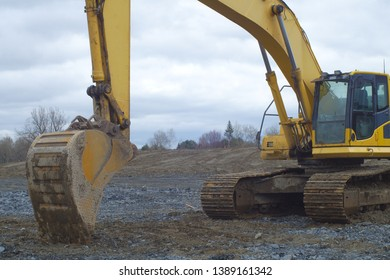 excavator digger earthmover hydraulic machine on construction site