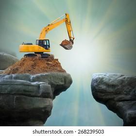 Excavator digging big hole.