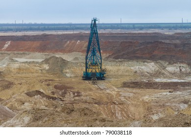 Excavator dragline in kaolin careers in the Zaporozhye region. Ukraine. January 2018