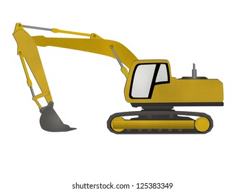 Excavator form recycled paper cut isolated on white