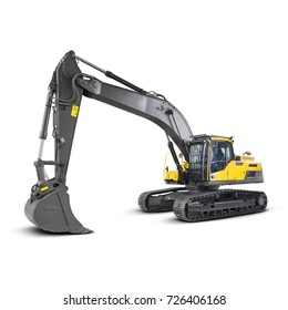 Excavator Isolated on White Background. Side View of Yellow Front Hoe Loader Machine. Industrial Vehicle. Heavy Equipment. Pneumatic Truck. Construction Equipment