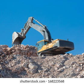 excavator loader machine during earthmoving