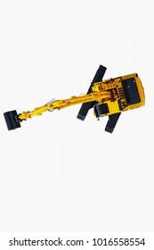 Excavator loader model on white background,Top view