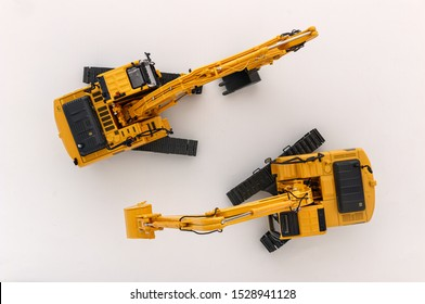 Excavator loader on a white background,Top view