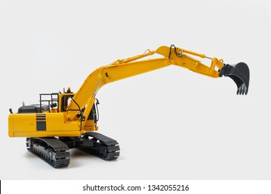 Excavator loaders on isolated white background