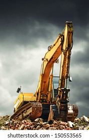EXcavator machine on construction site during earth moving works