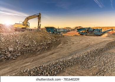 Excavator and machine to pulverize stone in a quarry