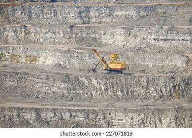 excavator machine in a quarry site near Pljevlja, Serbia