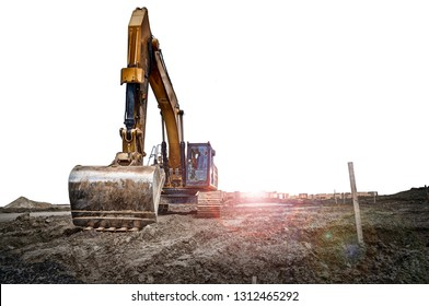 Excavator machinery at a construction site, isolated on white background. Copy space for your text or your image.