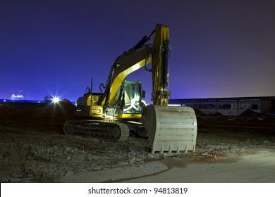 Excavator at night long exposure shot