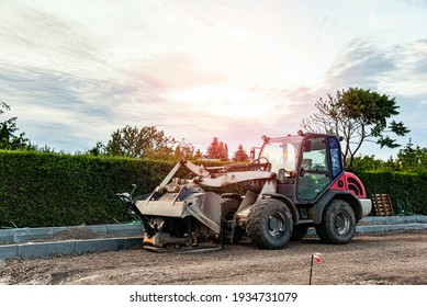 excavator on the construction site, road laying