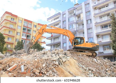 excavator on construction waste