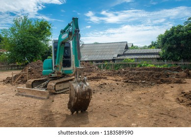 Excavator is on the duty at construction site