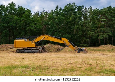 An excavator on the edge of a wood