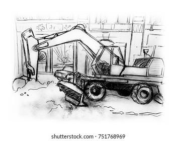 Excavator on road clean snow,hand drawn illustration
