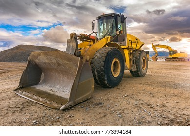 Excavator on a road construction site