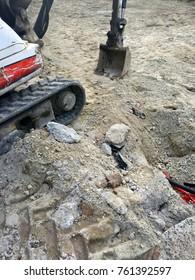 Excavator on tracks, bulldozer, machine for asphalt