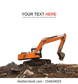 Excavator on white background with clipping path