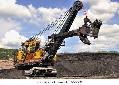 Excavator in the open-pit mine in northern Thailand - Mae Moh