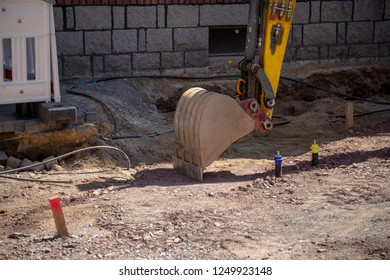 Excavator shovel at a construction site