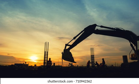 excavator sunset background heavy machine construction site soil excavate for foundation work by construction worker contractor for background construction concept