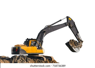 Excavator work on the ground on isolated white background