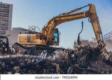 Excavator Working On a Demolition Site