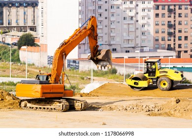 excavator working in site for buildings construction