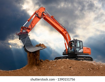 excavator works in construction site