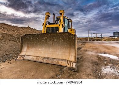 Excavators in a construction zone