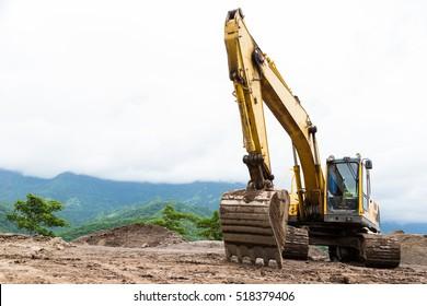 Excavators machine in construction site